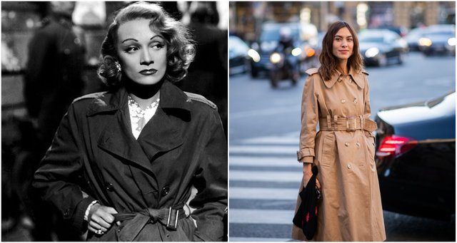 <p>Simple, sleek, stylish: Marlene Dietrich and Alexa Chung working a ladies' trench</p>