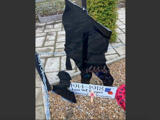 Criminals have damaged Thrapston's war memorial. Photo by Thrapston Town Council