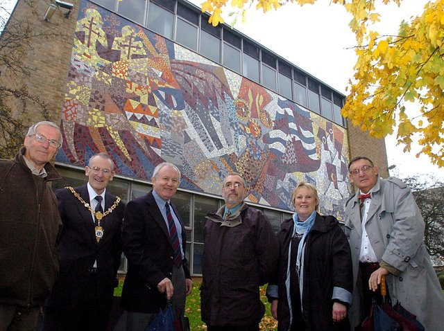 The mosaic, pictured at Tresham Institute before it was removed.