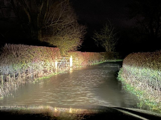 Police reported numerous rural roads flooded following Wednesday night's torrential rain