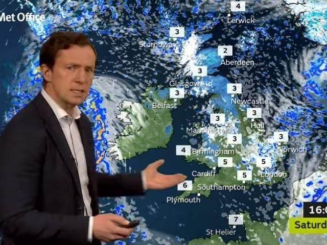 Alex Deakin's Met Office weather map shows snow heading our way on Saturday
