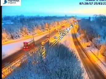 Highways England jam cams show the snowy scene near Kettering