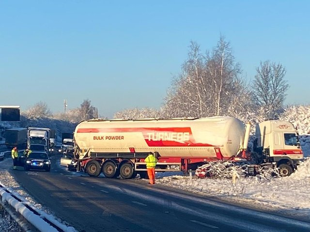 A lorry stranded on the A14 slip road this morning. Photos: @Northants_RCT