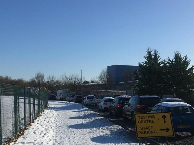 Queues this afternoon for the drive-in test centre in Kettering