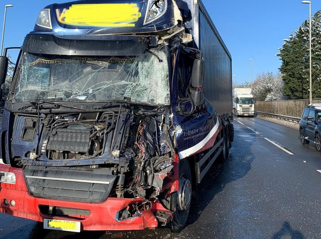 Wreckage of one of the lorries involved in mid-morning smash on the A14. Photo: @Northants_RCT