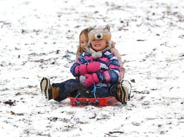 There was plenty of fun but last Sunday's snow also caused problems on the Northamptonshire's roads. Photo: Getty Images