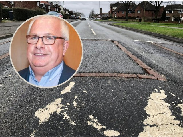 Cllr Mark Pengelly is leading the voices who are fed-up with the state of the roads on the Lloyds  estate. Picture: JPI Media / APSE