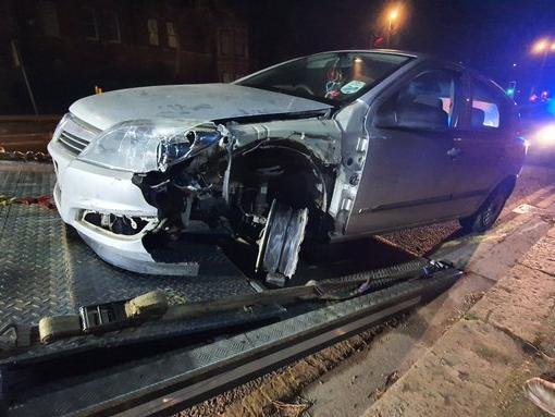 The driver fled after crashing his Astra into barriers on Wellingborough Road in Northampton