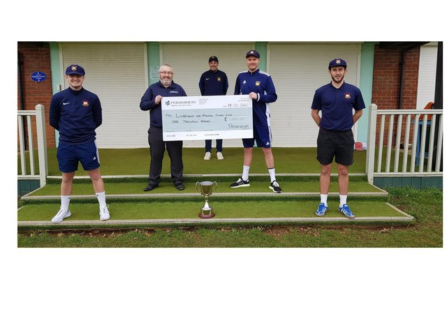 l-r  Martin Prowse, Persimmon Homes Midlands adoptions co-ordinator Brian Penn, James Coles, Loddington and Mawsley Cricket Club captain Liam Flecknor, and Calum Plowright.