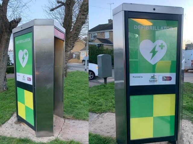 Two unused phone boxes in Rushden have been transformed into life-saving defibrillators
