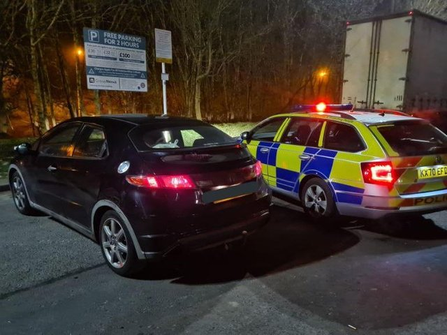 Police intercepted the Honda on the M1 services — good news, at least the parking was free! Photo: NP_PC1604