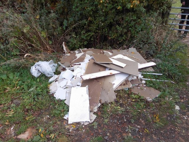 The fly-tipped waste at Denford Ash