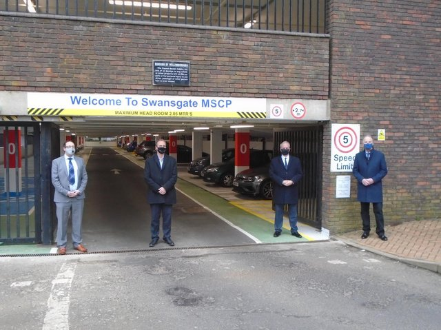 Shaun Darcy (Executive Director, Borough Council of Wellingborough), Rob Cant (Scape Regional Construction Framework Director, Morgan Sindall Construction), Cllr Martin Griffiths (Wellingborough Council leader) and Cllr Tim Allebone (Wellingborough Council)
