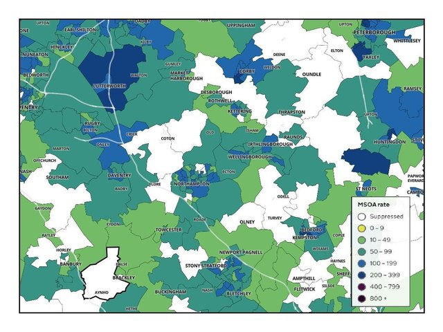 Northamptonshire's Covid-19 map shows fewer 'dark blue' areas where case numbers reamin high