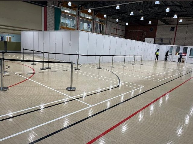 Corby's first lateral flow testing centre at Lodge Park sports centre