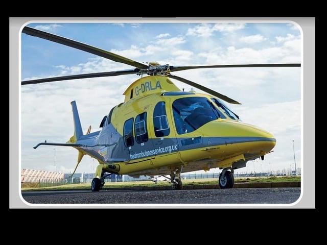 The state-of-the-art Leonardo AW109 GrandNew EMS helicopter.