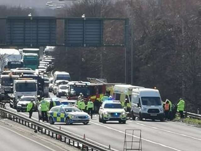 Emergency services at the scene of the crash on the A45 on Friday afternoon