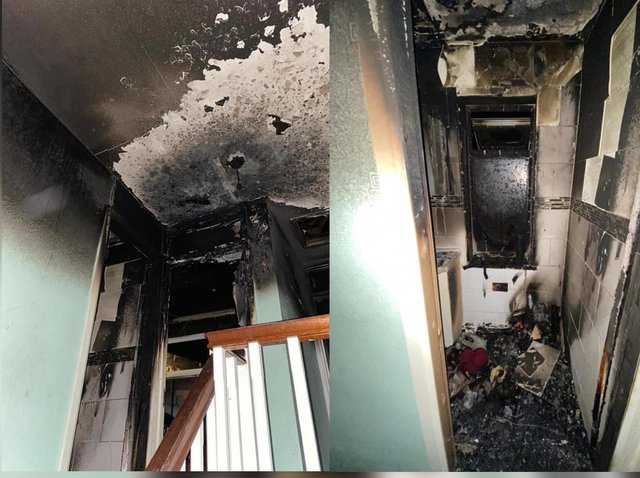 A stairwell and bathroom shown ravaged by the fire. Image: Northants Fire and Rescue