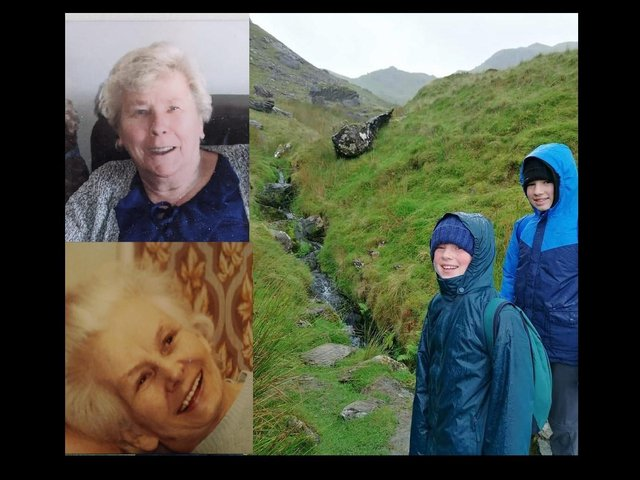 Oliver (on right) with brother George climbing Snowdon last summer.  Inset are his great grans