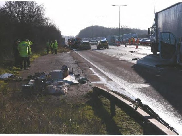 Konrad Biadun drove away from the scene of a fatal car crash he caused when he stopped on the M1 for seemingly no reason.