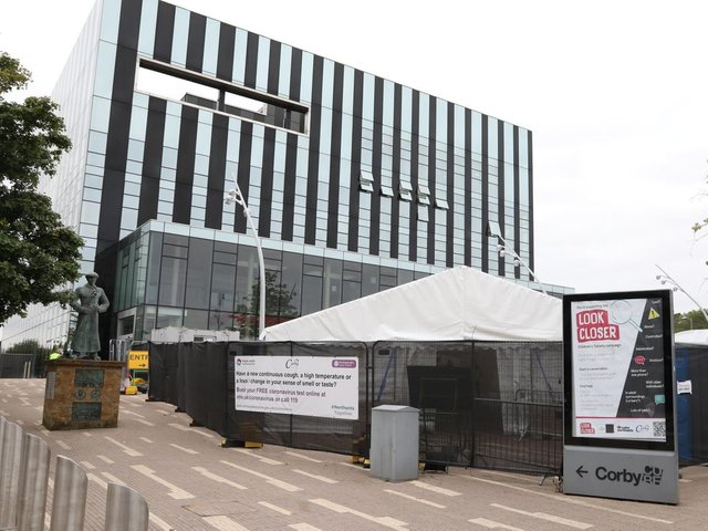 Corby's main PCR testing site is in James Ashworth Square