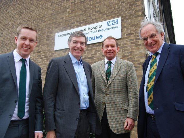L-R: MPs Tom Pursglove, Philip Dunne, Philip Hollobone and Peter Bone outside KGH.