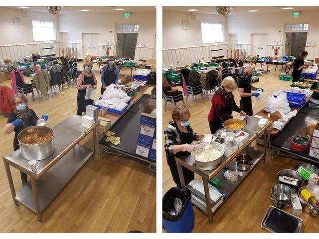 The Corona Kitchen volunteers in Corn Market Hall.