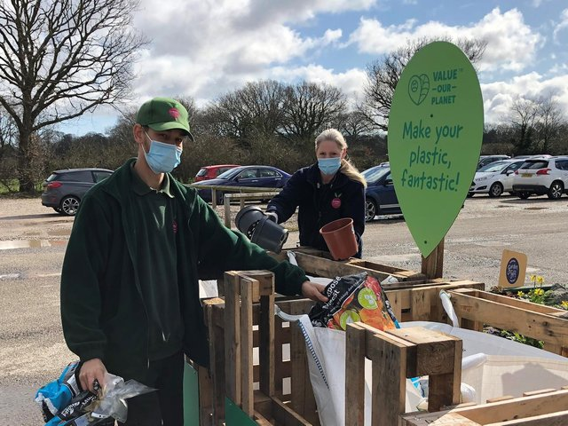 Cherry Lane team members Keilan Dobner and Angela Aldridge get stuck in with the recycling