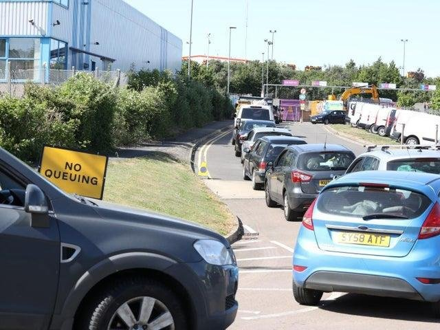 Queues at the Kettering tip last year.