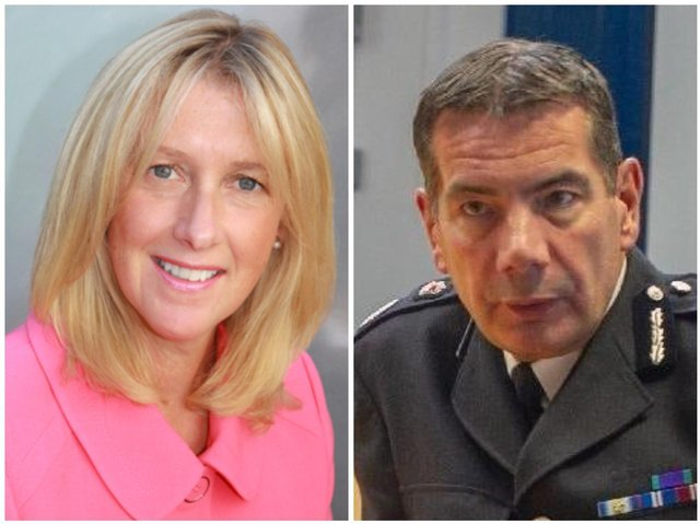 HMICFRS chief inspector Zoe Billingham (left) and Northamptonshire's Chief Constable Nick Adderley
