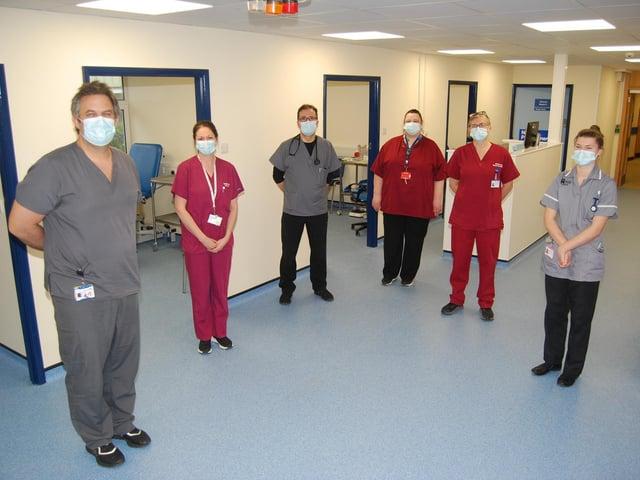 Some of the KGH A&E team in the new MIAMI area - L-R Richard Health, Vicky Smith, Dr Razvan Angelescu, Sarah Tye, Corrine Harris and Rebecca Holden