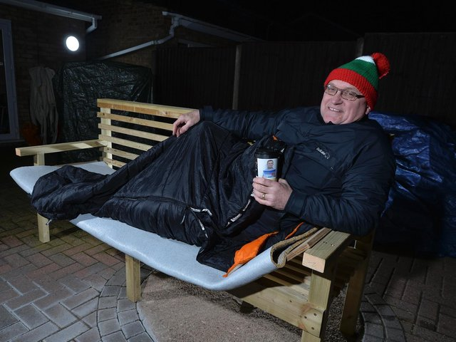 Kevin Sproates is sleeping on a bench to help homeless veterans. Picture by Andrew Carpenter.