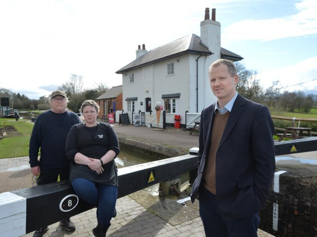 Gary Hives and Kelly Foster of Top Lock Coffee Shop with Neil O'Brien MP who is supporting the cafe. PICTURE: ANDREW CARPENTER