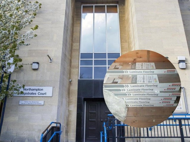 Northampton Magistrates' Court and, inset, the laminate flooring Skinner promised to send.