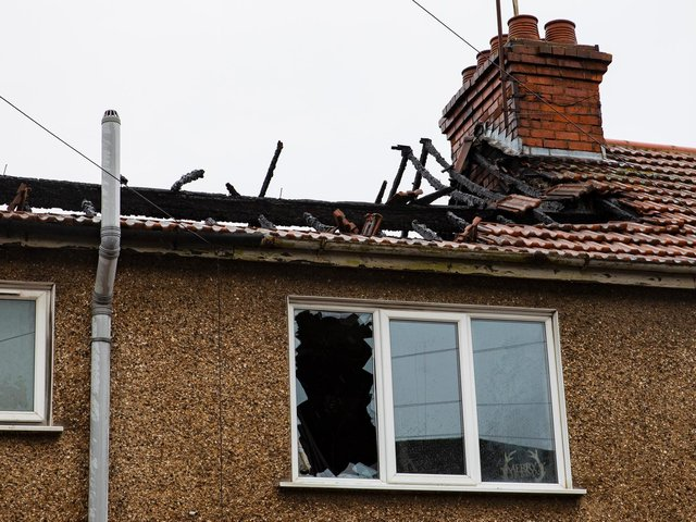 Friday's blaze destroyed the upper part of a terraced property in Far Cotton