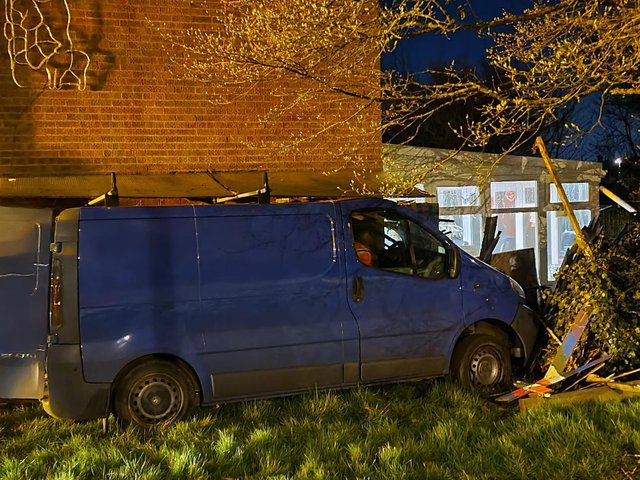 The van that ended up in the side of the house