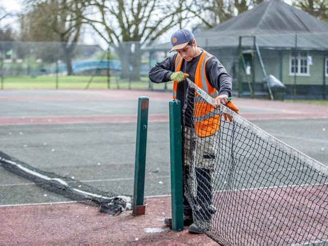 Nets going up on tennis courts at Becketts Park as sports facilities reopen in Northamptonshire. Photo: Kirsty Edmonds