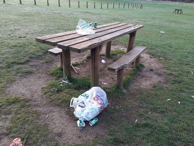 Irchester Country Park rubbish left on a picnic bench