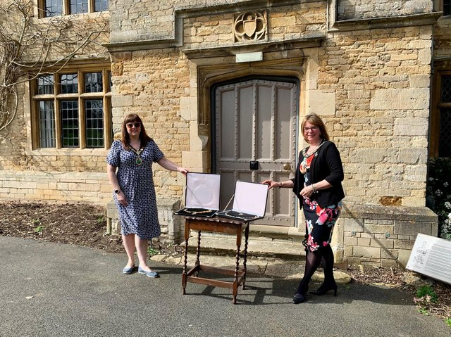 The handover of the chains outside Rushden Hall