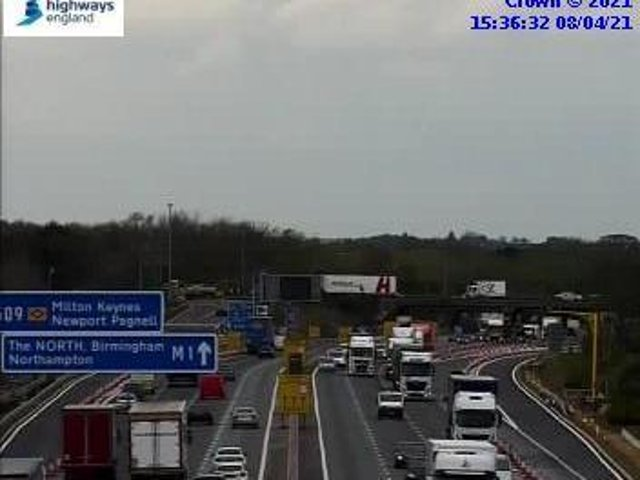 There is a lot of congestion on the M1 towards Milton Keynes.