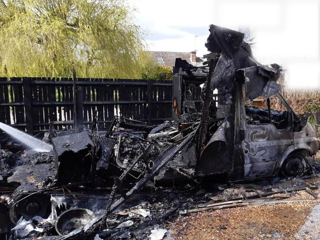 The aftermath of the motorhome fire