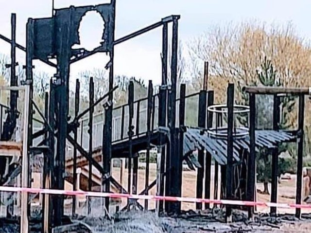 This was the scene on Saturday morning after a blaze destroyed the adventure playground