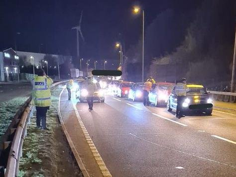 Police swooped on illegal street racers at DIRFT on Saturday night. Photo: @Northants_RPU