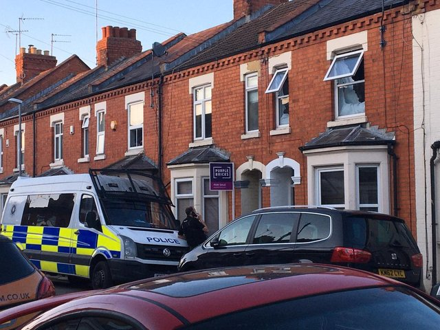 Police raided the house in Purser Road, Abington, on Monday evening