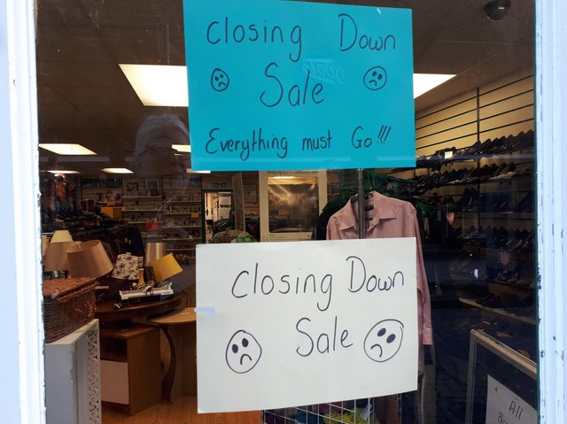Closing down sale signs have gone up in the Kettering shop