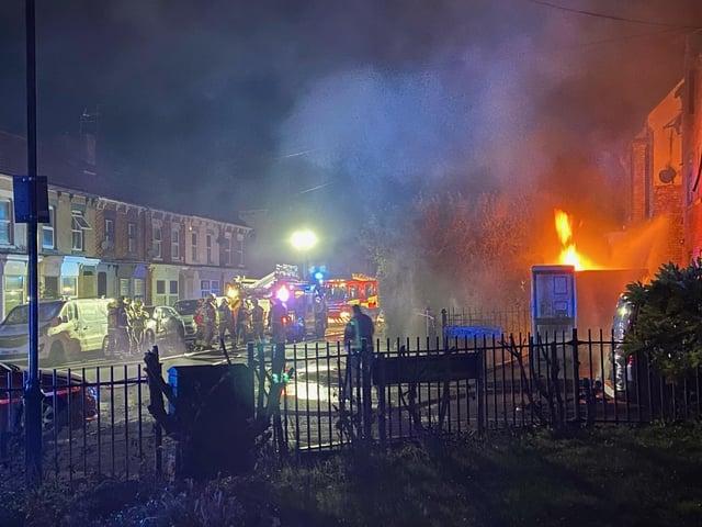 Four crews of firefighters tackled last night's blaze in Semilong. Photo: Josef Beckett: