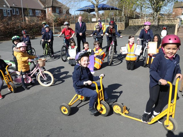 Chris Latimer and Alison Holland with pupils taking part in the Big Pedal