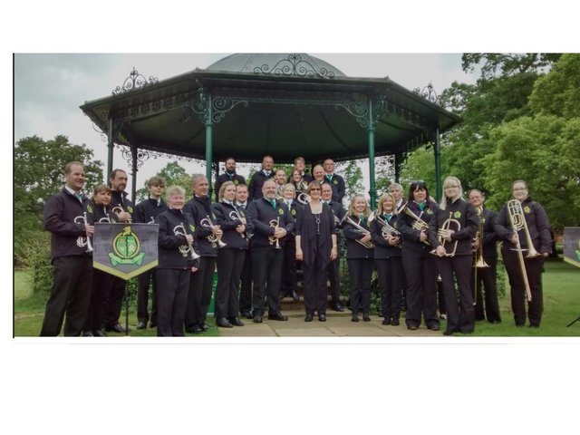 Rushden Town Band at Abington Park bandstand in 2019
