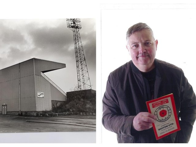 Rockingham Road in its heyday and Paul, holding a programme from his first Poppies match.