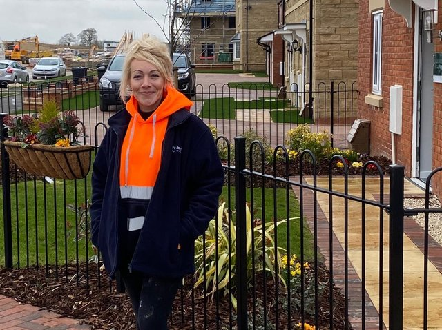 Persimmon Homes Midlands trainee assistant site manager Caroline Swannell at the company's Cranford Chase development